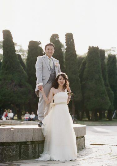 お二人の思い出の場所、大阪城公園で写真を撮りました